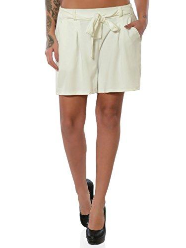 Damen Shorts Hot-Pants Kurze Sommer Hose Chino Stoffhose No 15885, Farbe:Weiß, Größe:M/38