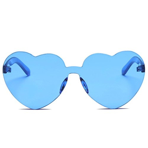 URSING Damenmode Herzförmige Shades Sonnenbrille Integriertes UV Süßigkeiten farbige Gläser Trendy Sommerbrille Herzbrille Love Sonnenbrille Kunststoff Rahmen Brille Candy Color Gläser (G)