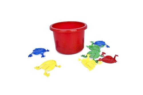 Preisvergleich Produktbild Tolles Frosch Hüpf Spiel / lustiges Froschhüpfspiel / Geschicklichkeitsspiel für Jung und Alt / Frosch Hüpfspiel, 12 Frösche + Eimer rot, BE-89288