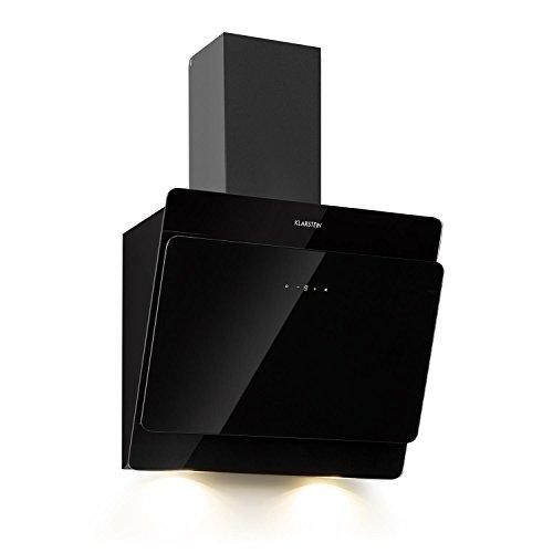 Klarstein Aurica 60 • Dunstabzugshaube • Abzugshaube • Wandabzugshaube • Abluft/Umluft • 3 Stufen • 620 m³/h max. Abluftleistung • Edelstahl • 60 cm • Aluminium-Fettfilter • schwarz