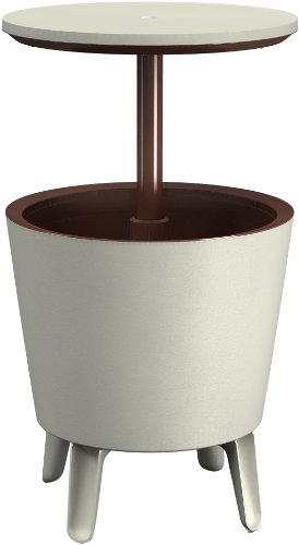 Keter Cool Bar crema y chocolate - Mesa nevera para exterior, 45...