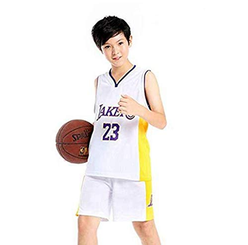Jungen- und Mädchen-Basketballtrikot - NBA 23# All-Star-Spieler Lakers Lebron James, Sommer-Kinder-Jersey-T-Shirt, Cooles, atmungsaktives, klassisch ärmelloses Oberteil und Shorts,White,3XS:75~90cm (Jersey James Lebron White)