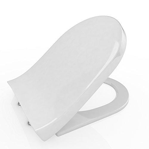 Nakey Klodeckel WC-Sitz mit Absenkautomatik U/O/V Form Toilettendeckel Soft Close WC-Sitz mit Deckel Verchromte Scharniere Toilettensitz mit Absenkautomatik Antibakteriell weiß (U)