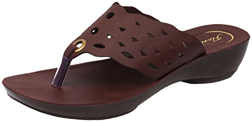 Action Shoes Women's Brown Synthetic Leather Slippers 37 UK