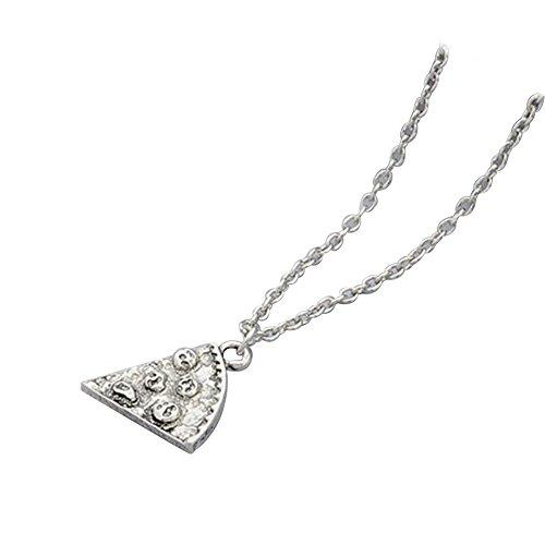 Contever® 1pcs Antike Pizza Scheibe Anhänger Freundschaft Halskette - Silber Farbe