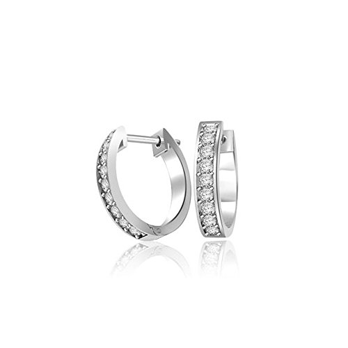 Plain Low-cut (0.18ct G/VS1 Diamant Reifen Ohrringe für Damen mit runden Brillantschliff diamanten in 18kt (750) Weißgold)