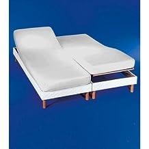 COTTON ART. Sábana bajera ajustable para camas dobles articuladas 180 x 190/200. Color blanco. Medida de cada cama 90x190/200.Disponible en color crudo.