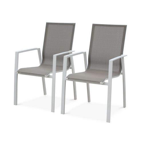 Alice's Garden Lot de 2 fauteuils - Washington Taupe - en Aluminium Blanc et textilène Taupe, empilables