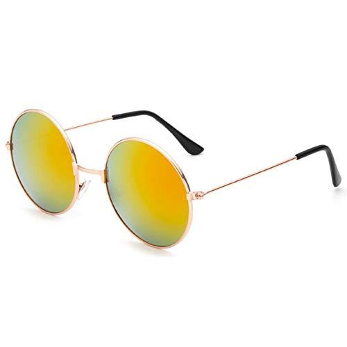 Taiyangcheng Vintage Runde Sonnenbrille Frauen Anti-Reflektierende Linse Sonnenbrille Weiblichen Metallrahmen Kreis Gläser,Gold Rot