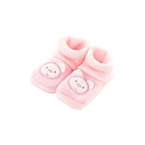 Chaussons pour bébé 0 à 3 Mois rose - Motif Maman Nounours