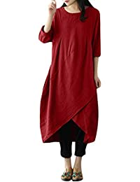 17e04aef2a8c FeiXiang Robe Femmes Vintage Tunique à Manches Longues Baggy Robe Longue  Grande Taille Robe en Coton