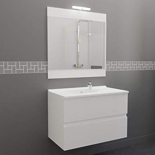 Meuble salle de bain simple vasque ROSALY 80 - Blanc brillant