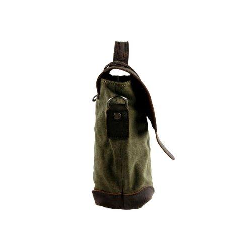 Tempo libero Moda Vintage Canvas borsa tracolla Postman uomo vera pelle Crazy Horse da donna, con maniglia superiore borsa di scuola sacchetto Satchel escursionismo Studente Schoolbag Dimensioni: 38x  verde
