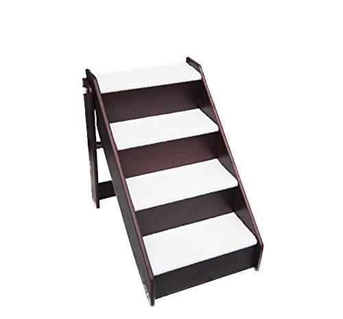 BollySeve Pet Gear Haustiere Treppen,4-stufige Für Kleine Katzen Aus Holz Hunde Streicheln Schritte Abnehmbar Waschbar Teppich Lauffläche-für Den Innen-außenbereich-a 63x46x59cm -