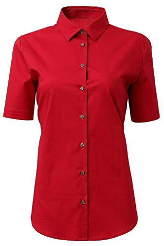HORSE SECRET Damen Sommer Bluse Workwear, Basic Hemd Slim Fit Kurzarm Baumwolle Einfarbig Plain Für Anzug Business Arbeit mit Brusttasche Bügelleicht/Bügelfrei,Rot,XX-Small -