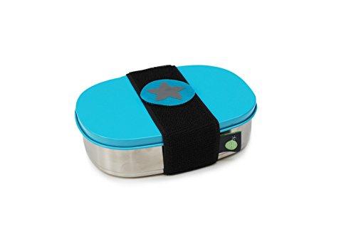 do dotty BOX schadstofffreie Edelstahl Brotdose türkis (16,5x12x4) mit Trennsteg und Klettmotiv zum individualisieren für Kindergarten und Schule