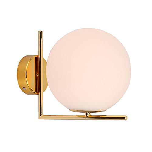 Pouluuo Applique en laiton nordique simple/salon / chambre à coucher/salle à manger/balcon / couloir/applique murale/abat-jour en verre boule applique murale doré / 30cm