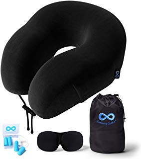 100% Pure Memory Foam Neck Pillow Airplane Travel Kit With Ultra Plush Velour Cover, Sleep Mask and Earplugs Ultra Memory Kit