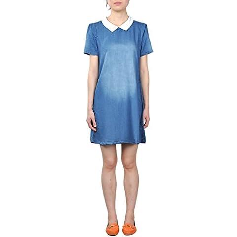 Mooncolour bambola, taglia unica Plus da donna a maniche corte, colletto, colore: blu Denim