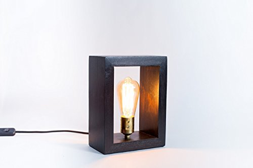 Holzlampe, edison, handgemachte Lampe, Tischlampe, Lampendesign, Wenge Lampe. Bergen-Lampe.