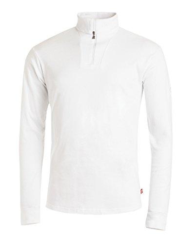 Medico Herren Ski Shirt, 54, 100% Baumwolle, weiß, langarm, Rollkragen, Reißverschluss, 597a - Weiße Baumwolle Rollkragen