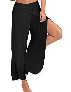 La Mujer Casual Split Yoga Solid Puff Largo Pantalones Largos Culotte