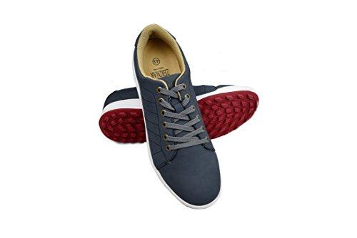 Zerimar Chaussures de Golf pour Hommes | Chaussures de Sport pour Hommes | Chaussures de Sport pour Hommes | Chaussure de Golf en Cuir| Chaussure de Sport | Couleur Bleu Marine Taille 41