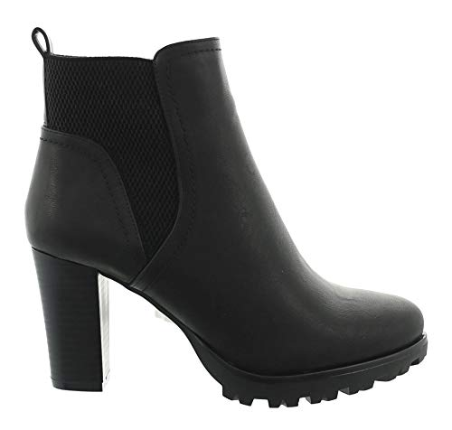 King Of Shoes Damen Stiefeletten Ankle Boots Plateau Stiefel Schuhe 74 (41, Schwarz)