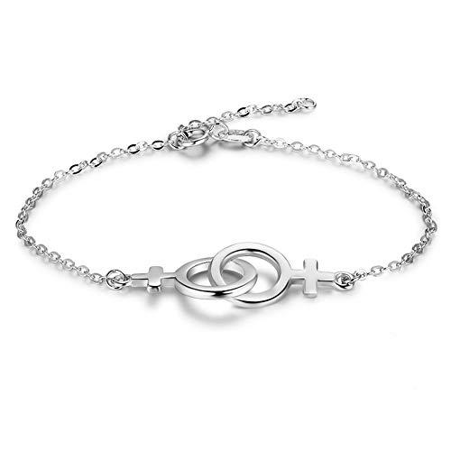 ZHWJH Mode Paar Bangle925 Sterling Silber Kreuz Doppel Ring Armband Schmuck Valentinstag Geburtstagsgeschenk