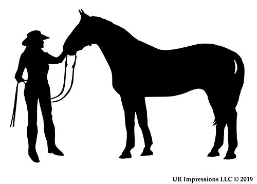 UR Impressions Cowgirl and Horse Aufkleber für Auto, LKW, SUV, Vans, Wände, Fenster, Laptop Schwarz schwarz