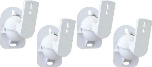TechSol 4 Pack Weiß Universal-Wandhalterungen für Lautsprecher