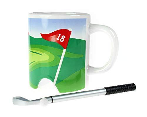 Monsterzeug Golftasse mit Mini-Putter, Golf Mug, Kaffeebecher mit Ball und Schläger als Stift