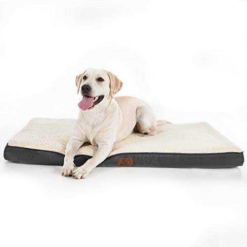Bedsure Hundekissen/Hundematratze für kleine mittlere große Hunde, eierförmiger Kistenschaum orthopädische Hundebett kuschelig bequem Schlafplatz, 90x70 cm, waschbar Höhe in 8 cm