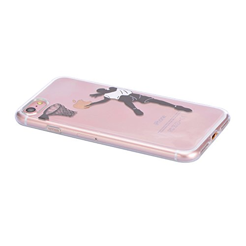 Coque iPhone 6S, Sunroyal iPhone 6 6S Silicone Coque de Protection Transparente TPU Gel Souple Etui Housse Anti-choc Shock-Absorption Bumper Case Cover Premium Ultra-Mince Motif Impression Créatif Cou Motif 01