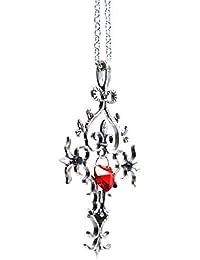 Gothic Vampire Diaries Rojo Sagrado Corazón Cristal Collar Colgante Cruz conmemorativa - Caja de regalo Incluido