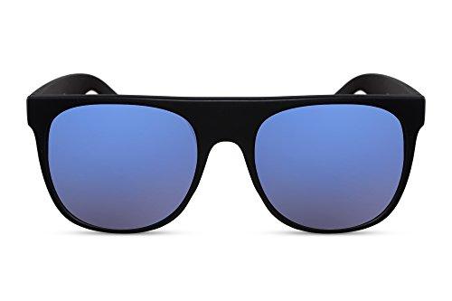 Cheapass Sonnenbrille Schwarz Blau Rechteckig-e Designer-Brille UV-400 Metall Männer Herren