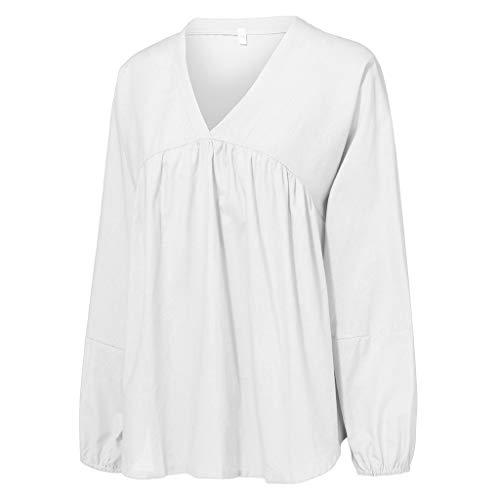 CixNy Bluse Fashion Damen V-Ausschnitt Top Weite Ärmel Puff T-Shirt Einfarbig Tops Sweatshirt Weste Tunika Shirt Tunika Sweater Hemd (S, Weiß) -