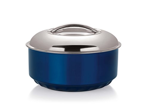 NanoNine Hot Serve Stainless Steel Casserole Insu-Serving Pot, 1500ml, Blue
