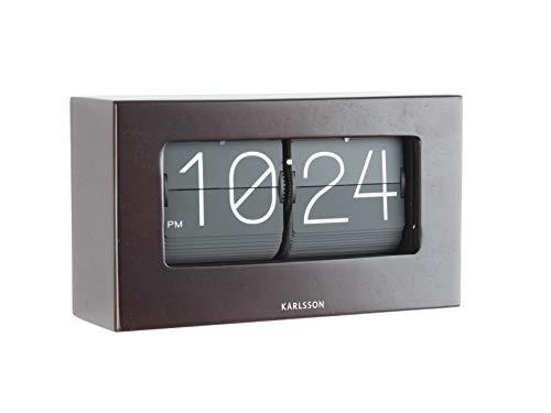 Karlsson Flip Uhr Box–Dunkles Holz (Frei Stehende Box)