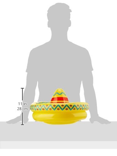 Arteki Inflatable Sombrero Cooler Party Accessory 18-Inch by 12-Inch (1 Count), Multicolor, One Size Inflatable (18
