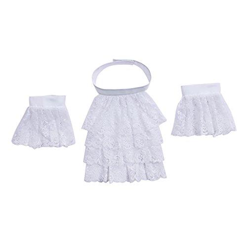 Cosplayitem Unisex Vintage Kragen Abnehmbare Spitze Abnehmbare Spitze Zubehör Bluse Hemd (Weiß) (Viktorianische Bluse Rüschen)