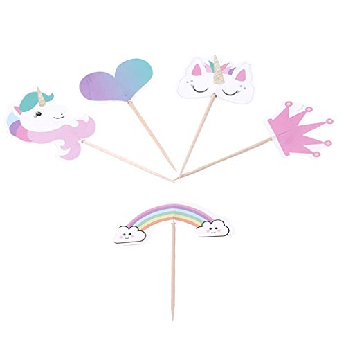 Sevenfly Einhorn Kuchen Dekorationen Cupcake Toppers Und Wrapper Double Sided Kids Party Set Von 24, Stil 5
