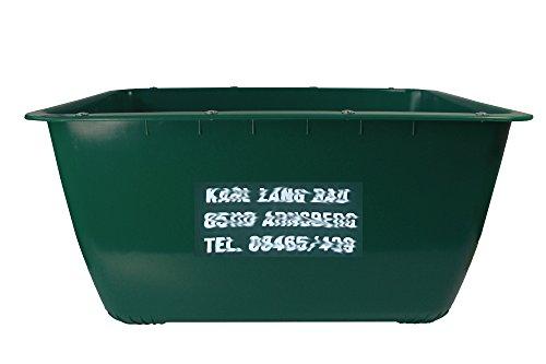 200 Liter 2te-Wahl (mit Fehldruck) Mörtelkübel GRÜN, Mörtelwanne, Blumenkübel, Wasserbehälter, Futtertrog, Wildwanne, Futterwanne mit Alu-Dibond Verstärkung