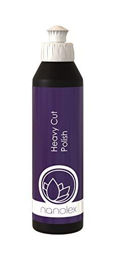 Nanolex Heavy Cut Politur 250 ml, Premium Schleifpolitur & Schleifpaste für alle Autolacke, entfernt effektiv tiefe Kratzer und Schleifspuren bis zu einer 1500er Körnung, silikonfreier Lackreiniger
