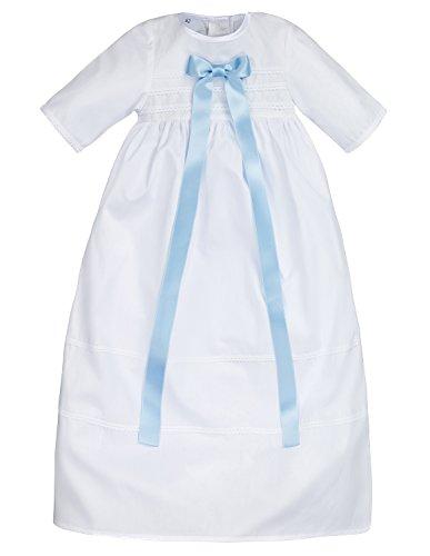 Bateo Design Baby Taufkleid aus Baumwolle Simon mit Schleife Hellblau 68