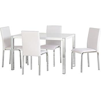 Lexus Gloss White Round Dining Table 4 White Sophia