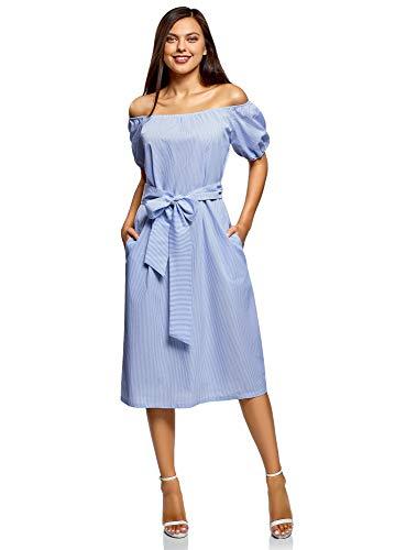 oodji Ultra Damen Kleid mit Raglan-Ärmeln und Gürtel, Weiß, DE 36 / EU 38 / S -