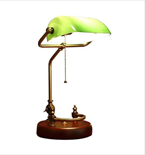 Hanamaki Amerikanisches Stil Einfaches Design, Verwaltungs Banker Lampe, Glasschatten Antique Messing LED (Farbe: Grün)