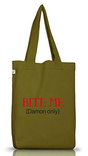 Shirtstreet24, BITE ME (Damon Only), Vampir Vampire Jutebeutel Stoff Tasche Earth Positive Leaf Green