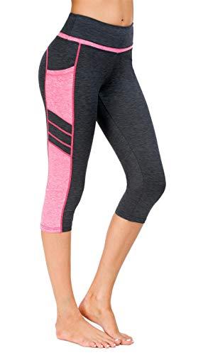Flatik Damen Netzoberfläche Sport Gym Yoga Laufen Fitness Leggings Hose, Grau Pink(3/4 - Capri Damen Reebok